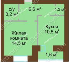 1 комнатная квартира 39,3 м² в ЖК Рубин, дом № 67