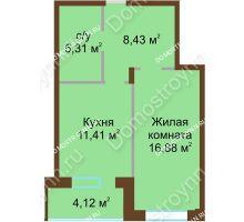 1 комнатная квартира 46,15 м² в ЖК Солнечный город, дом на участке № 208 - планировка