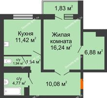 1 комнатная квартира 55,1 м² в ЖК Мой город, дом Литер 3 - планировка