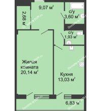 1 комнатная квартира 51,2 м² в  ЖК РИИЖТский Уют, дом Секция 1-2 - планировка