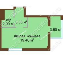 Студия 27,7 м², Жилой дом: ул. Краснозвездная д. 2 - планировка
