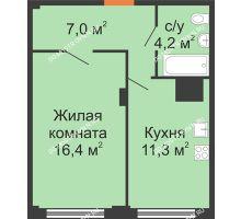 1 комнатная квартира 38,9 м² в ЖК Зенит, дом № 17 - планировка