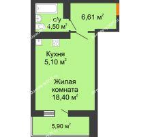 Студия 37,56 м² в ЖК Сокол Градъ, дом Литер 8 - планировка