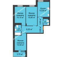 3 комнатная квартира 80,75 м² в ЖК Корица, дом № 1 - планировка