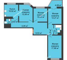 3 комнатная квартира 90,4 м² в ЖК Лазурный, дом 50 позиция (2-5 подъезд) - планировка