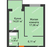 1 комнатная квартира 42,37 м², ЖК Зеленый квартал 2 - планировка
