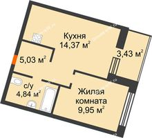 2 комнатная квартира 35,91 м² в ЖК Квартал на Московском, дом Альфа - планировка