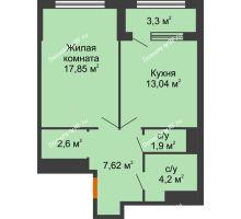 1 комнатная квартира 48,86 м², ЖК Гран-При - планировка