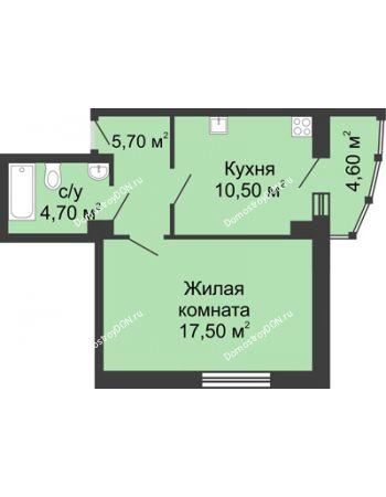 1 комнатная квартира 42,7 м² в ЖК Мега, дом № 2