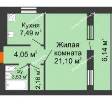 1 комнатная квартира 41,4 м², ЖК Дом у озера - планировка