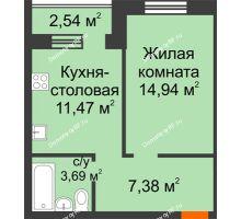 1 комнатная квартира 38,75 м² в Микрорайон Дон, дом ул.Генерала Круковского,д.5 - планировка