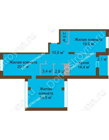 3 комнатная квартира 101,3 м² в ЖК Монолит, дом № 89, корп. 1, 2