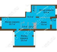 3 комнатная квартира 101,3 м² в ЖК Монолит, дом № 89, корп. 1, 2 - планировка