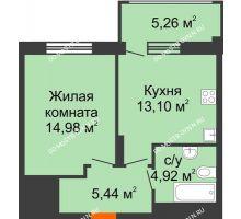 1 комнатная квартира 40,02 м² в ЖК Маленькая страна, дом № 4 - планировка