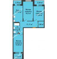 3 комнатная квартира 81,34 м² в ЖК Мандарин, дом 2 позиция 5-8 секция - планировка