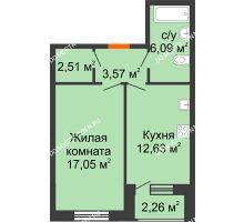 1 комнатная квартира 42,98 м² - Дом на Чаадаева