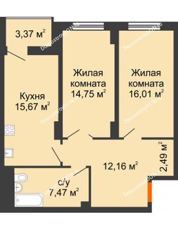 2 комнатная квартира 70,24 м² в ЖК Аврора, дом № 3