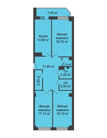 3 комнатная квартира 103,6 м² - ЖК Крылья Ростова