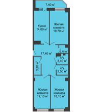 3 комнатная квартира 103,6 м², ЖК Крылья Ростова - планировка