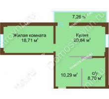 1 комнатная квартира 60,72 м² в ЖК Дом с террасами, дом № 1