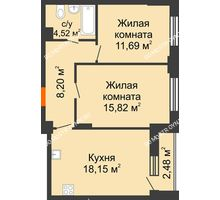 2 комнатная квартира 59,62 м², ЖК КМ Флагман - планировка