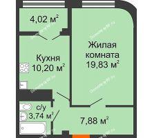 1 комнатная квартира 45,67 м² в ЖК Малахит, дом № 1 - планировка