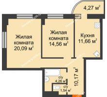 2 комнатная квартира 63,56 м² в ЖК Звезда, дом № 1 - планировка