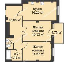 2 комнатная квартира 69,18 м² в ЖК Премиум, дом №1