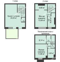 3 комнатный таунхаус 90 м² в КП Баден-Баден, дом № 26 (от 73 до 105 м2) - планировка