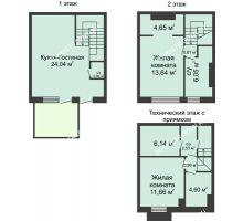 3 комнатная квартира 90 м² в КП Баден-Баден, дом № 31 (от 73 до 105 м2) - планировка