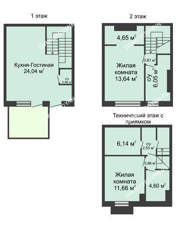 3 комнатная квартира 90 м² в КП Баден-Баден, дом № 44 (от 73 до 105 м2)