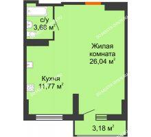 Студия 43 м², ЖК Орбита - планировка
