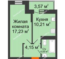 1 комнатная квартира 37,16 м² в ЖК Россинский парк, дом Литер 1 - планировка