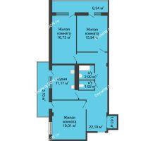 3 комнатная квартира 92,7 м² в  ЖК РИИЖТский Уют, дом Секция 1-2 - планировка