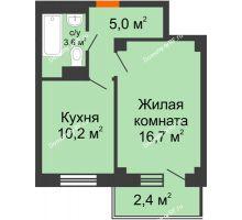 1 комнатная квартира 36,6 м², ЖД Подзолкова - планировка