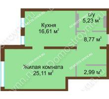 1 комнатная квартира 58,71 м² в ЖК Дом с террасами, дом № 1