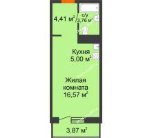 Студия 33,61 м² в ЖК Рассвет, дом №4 - планировка